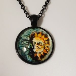 Sun and Moon Space Dome Necklace Black Chain